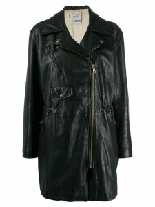 Moschino Pre-Owned 1990s leather drawstring biker coat - Black