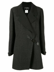 Chanel Pre-Owned diagonal buckle coat - Grey