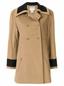 Chanel Pre-Owned 1998 contrast trim coat - Brown