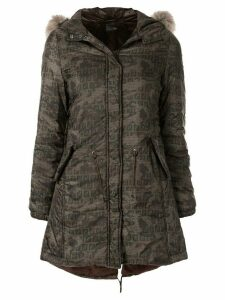 Fendi Pre-Owned logo camouflage coat - Brown