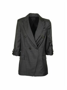 Virgin Wool Sharkskin Blazer With Shiny Grosgrain Band