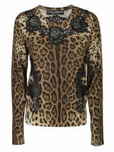 Dolce & Gabbana Lace Panelled Leopard Top