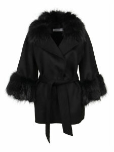 Black Wool And Fur Coat