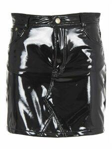 Chiara Ferragni Black Vinyl Mini Skirt