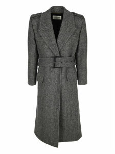 Saint Laurent Belted Herringbone Coat