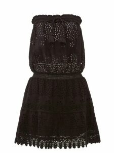 Melissa Odabash - Iris Bandeau Crocheted Cotton Poplin Dress - Womens - Black