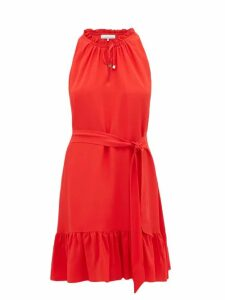 Heidi Klein - Pampelonne Ruffle Trimmed Crepe De Chine Dress - Womens - Red