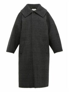 Balenciaga - Oversized Checked Wool Blend Coat - Womens - Dark Grey