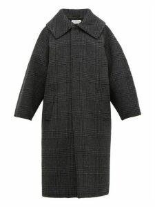 Balenciaga - Oversized Checked Wool Blend Coat - Womens - Dark Grey