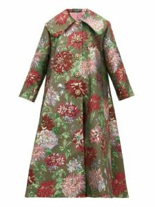 Dolce & Gabbana - Crystal Appliqué Metallic Brocade Opera Coat - Womens - Red Multi