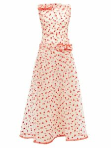 Rodarte - Flocked Heart Pattern Tulle Maxi Dress - Womens - Red Multi