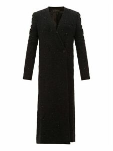 Haider Ackermann - V Neck Sequinned Boucle Long Line Coat - Womens - Black