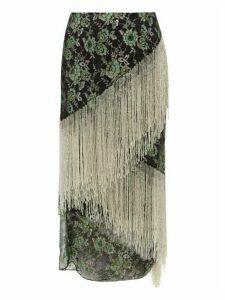 Romance Was Born - Stardust Beaded-fringe Metallic-lace Skirt - Womens - Green Multi