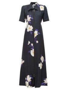 Raey - Zip Front Floral Print Silk Dress - Womens - Navy Print