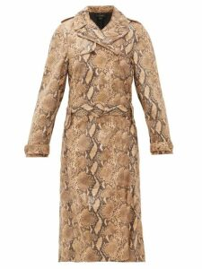 Ellery - Spectrum Faux Snakeskin Trench Coat - Womens - Beige