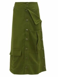 Jacquemus - Monceau Patch Pocket Canvas Midi Skirt - Womens - Dark Green