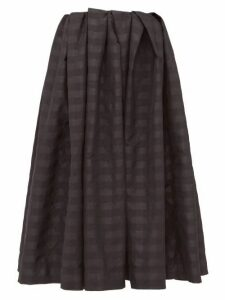 Marques'almeida - Pleated Checked Taffeta Midi Skirt - Womens - Black