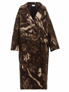 Raey - Double Breasted Animal Print Wool Blend Coat - Womens - Brown Print