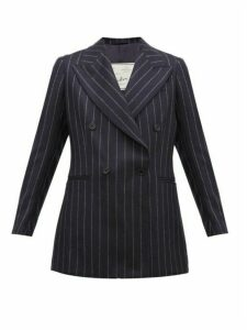 Giuliva Heritage Collection - The Stella Pinstriped Wool Double Breasted Blazer - Womens - Navy Stripe