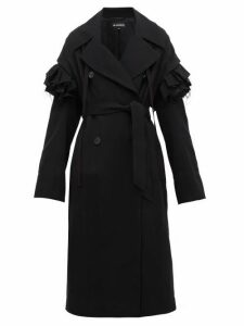 Ann Demeulemeester - Detachable Frill Wool Blend Coat - Womens - Black