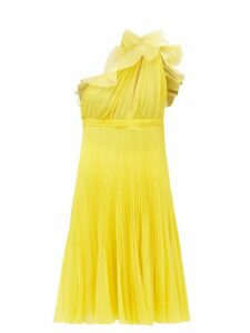 Giambattista Valli - Pleated Silk One Shoulder Ruffle Dress - Womens - Yellow