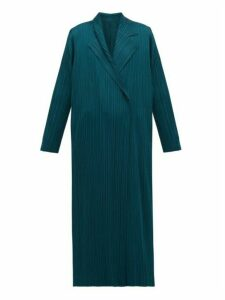 Pleats Please Issey Miyake - Double Breasted Plissé Coat - Womens - Green
