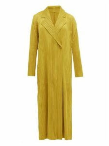 Pleats Please Issey Miyake - Double Breasted Plissé Coat - Womens - Dark Yellow