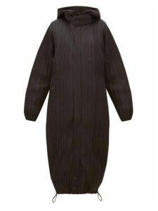 Pleats Please Issey Miyake - Reversible Hooded Plissé Coat - Womens - Black