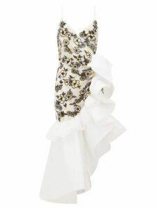 Rodarte - Ruffled Floral-beaded Silk-blend Tulle Dress - Womens - White Multi