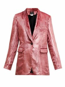 Ann Demeulemeester - Illume Striped Velvet Lamé Single Breasted Blazer - Womens - Light Pink