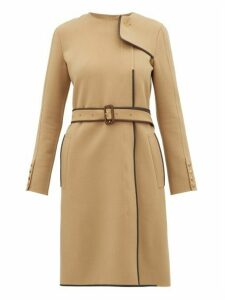 Burberry - Leather Trim Belted Wool Blend Coat - Womens - Beige