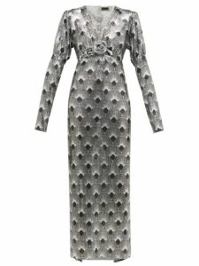 Paco Rabanne - Art Deco Printed Chainmail Dress - Womens - Silver