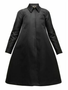 Rochas - A Line Duchess Satin Coat - Womens - Black