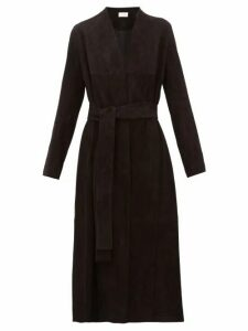 The Row - Luisa Stretch Lambskin Suede Coat - Womens - Black