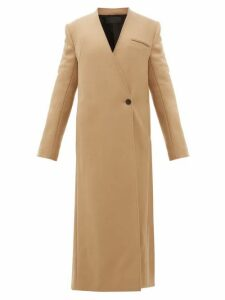 Haider Ackermann - V Neck Wool Blend Twill Long Line Coat - Womens - Camel