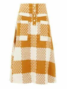 Ace & Jig - Maisie Checked Cotton A Line Skirt - Womens - Beige Multi