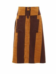 Ace & Jig - Maisie Patch Pocket Striped Cotton Midi Skirt - Womens - Brown Multi
