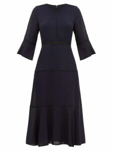 Cefinn - Flared Cuff Panelled Muslin Midi Dress - Womens - Navy