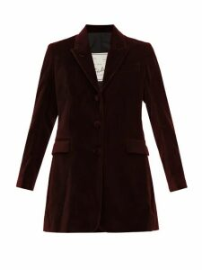 Giuliva Heritage Collection - The Karen Tailored Cotton Velvet Blazer - Womens - Burgundy
