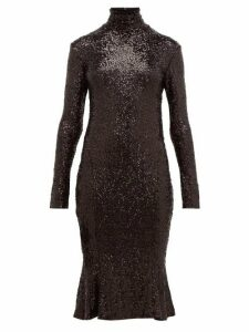 Norma Kamali - High Neck Sequinned Fishtail Hem Dress - Womens - Black