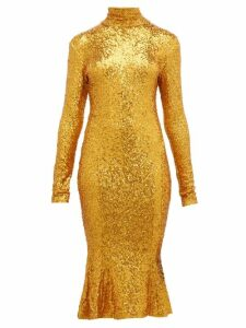 Norma Kamali - High Neck Sequinned Fishtail Hem Dress - Womens - Gold
