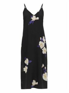 Raey - Deep V-neck Floral-print Silk Dress - Womens - Navy Print