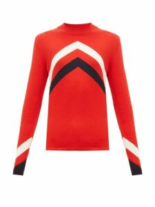 Perfect Moment - Chevron Intarsia Merino Wool Sweater - Womens - Red