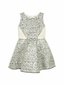 Girl's Margo Metallic Brocade Fit & Flare Dress