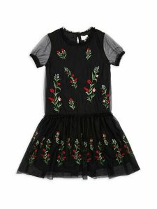 Girl's Embroidered Floral Mesh Dress
