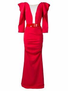 Elisabetta Franchi ruffle trimmed dress - Red