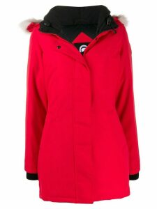 Canada Goose fur trim parka - Red