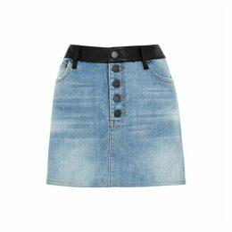 Alice & Olivia Jeans Amazing Leather-panelled Denim Mini Skirt