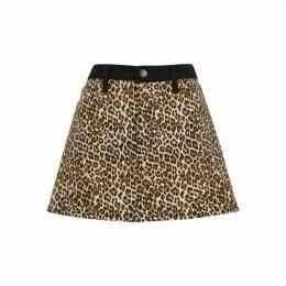 Alice & Olivia Jeans Good High Rise Leopard-print Denim Mini Skirt