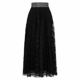 Christopher Kane Black Crystal-embellished Lace Midi Skirt